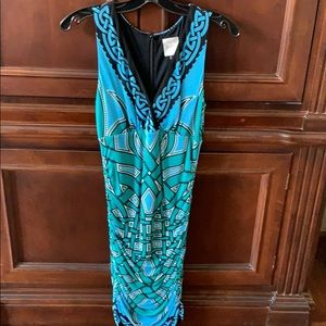 Nicole miller blue/ green fitted dress Small